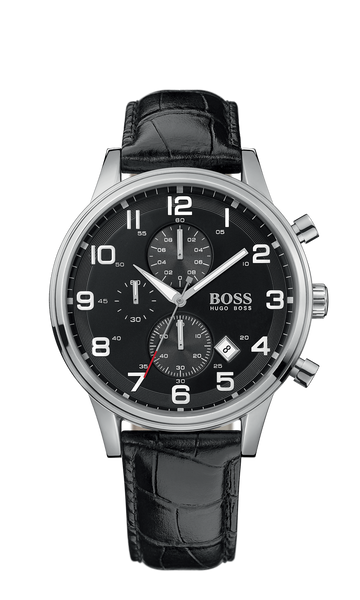 Hugo Boss 1512448 Black Round Black Chronograph Dial Steel Case Men's Classic - Arnik Jewellers