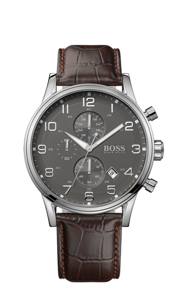 Hugo Boss 1512570 Men's Grey Leather Analog Quartz Watch - Arnik Jewellers