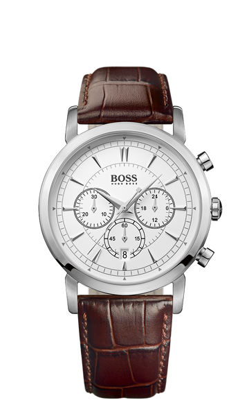 Hugo Boss 1512871 Chronograph Brown Croc-Embossed Leather Strap Slim Watch - Arnik Jewellers