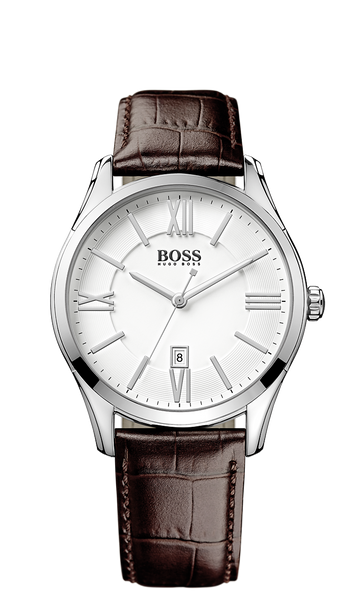 Hugo Boss 1513021 Black Croc-Embossed Strap 3-Hand Quartz Ambassador Watch - Arnik Jewellers