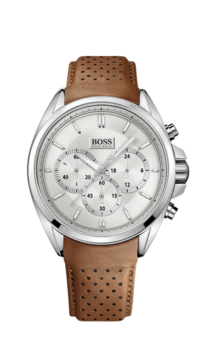 Hugo Boss 1513118 Chronograph Brown Perforated Leather Strap Driver Watch  - Arnik Jewellers