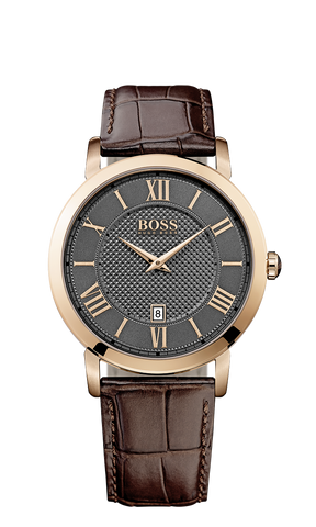 Hugo Boss 1513138 Men's Rose Gold PVD Brown Leather Strap Watch  - Arnik Jewellers