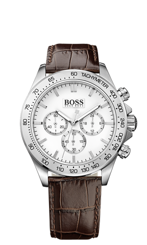Hugo Boss 1513175 Ikon Chrono Stainless Steel Brown Leather Men's Watch - Arnik Jewellers