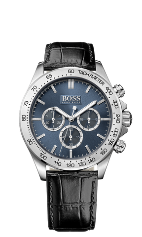 Hugo Boss 1513176 Men's Black Leather Band Blue Dial Chronograph Watch - Arnik Jewellers