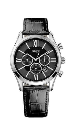 Hugo Boss 1513194 Chronograph Black Croc Leather Strap Watch  - Arnik Jewellers