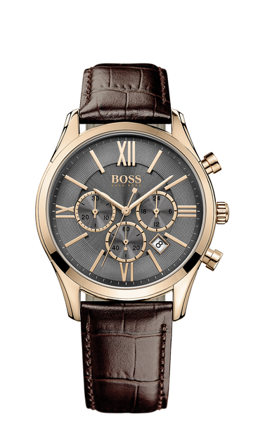 Hugo Boss 1513198 Chronograph Rose Gold PVD Brown Leather Strap Watch  - Arnik Jewellers