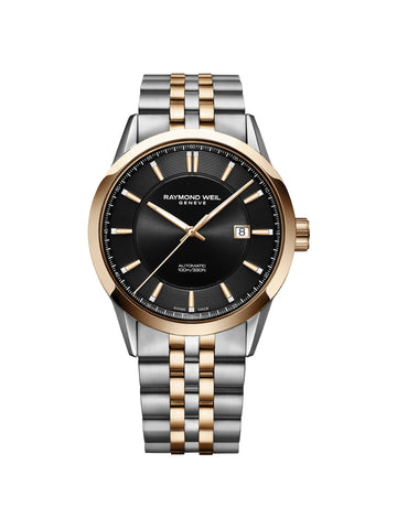 Raymond Weil Freelancer Automatic Classic Two-Tone Rose Gold Watch 42mm Black Dial 2731-SP5-20001 - Arnik Jewellers