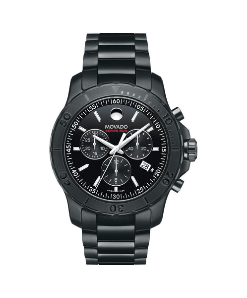 Movado Men's Series 800 Chronograph Watch, 42 mm Black PVD-Finished Performance Steel 2600119 - Arnik Jewellers
