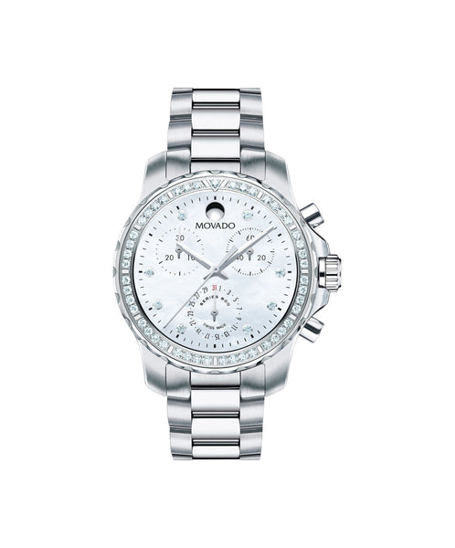 Movado Women's Series 800 Chronograph Watch, 35 mm Performance Steel with 43-Diamond Unidirectional Bezel 2600129 - Arnik Jewellers
