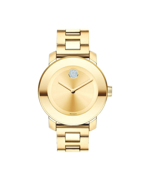 Midsize Movado BOLD watch, 36 mm Yellow Gold Ion-Plated Stainless Steel with Clear Crystal-Set dot 3600104 - Arnik Jewellers