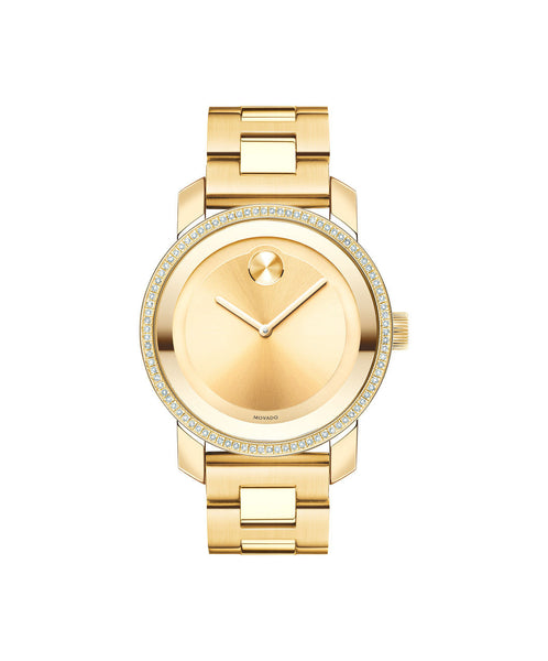 Midsize Movado BOLD Diamond Watch, 36 mm Yellow Gold Ion-Plated Stainless Steel with 90 Diamonds 3600150 - Arnik Jewellers