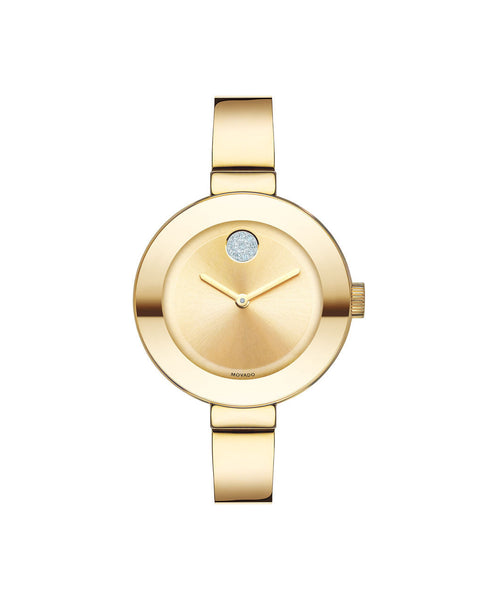 Midsize Movado BOLD Watch, 34 mm Yellow Gold Ion-Plated Stainless Steel with Clear Crystal-Set Dot 3600201 - Arnik Jewellers