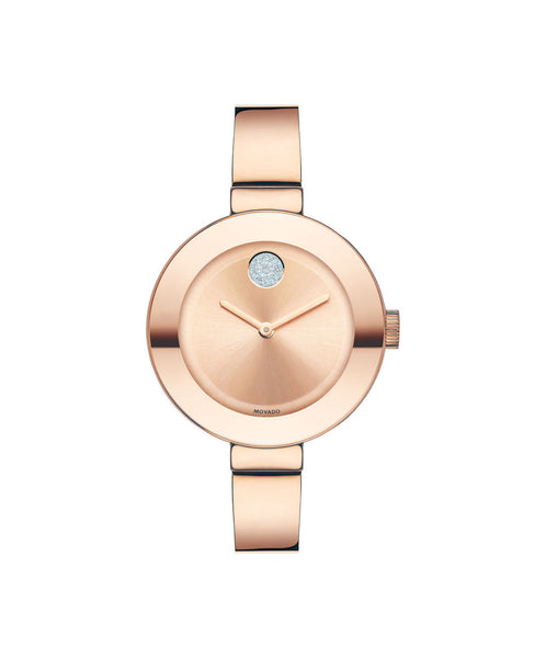 Midsize Movado BOLD Watch, 34 mm Rose Gold Ion-Plated Stainless Steel with Clear Crystal-Set Dot 3600202 - Arnik Jewellers