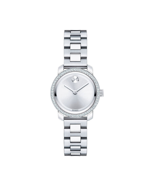 Small Movado BOLD Diamond Watch, 25 mm Stainless Steel with 54 Diamonds 3600214 - Arnik Jewellers