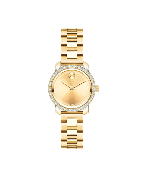 Small Movado BOLD Diamond Watch, 25 mm Yellow Gold Ion-Plated Stainless Steel with 54 Diamonds 3600215 - Arnik Jewellers