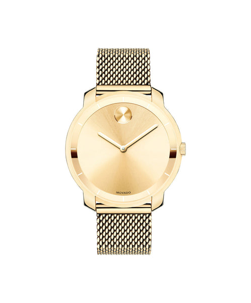 Midsize Movado BOLD Watch, Thin 36 mm Yellow Gold Ion-Plated Stainless Steel with Mesh-Link Bracelet 3600242 - Arnik Jewellers