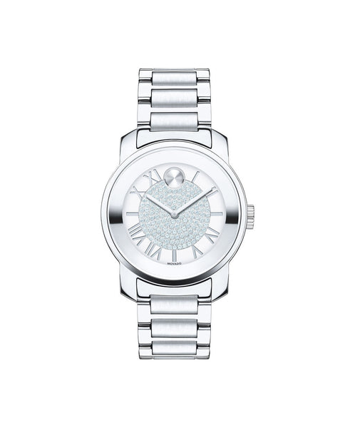 Midsize Movado BOLD Luxe Watch, 32 mm Stainless Steel with Pavé Crystal Center 3600254 - Arnik Jewellers
