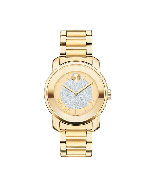Midsize Movado BOLD Luxe Watch, 32 mm Yellow Gold Ion-Plated Stainless Steel with Pavé Crystal Center 3600255 - Arnik Jewellers