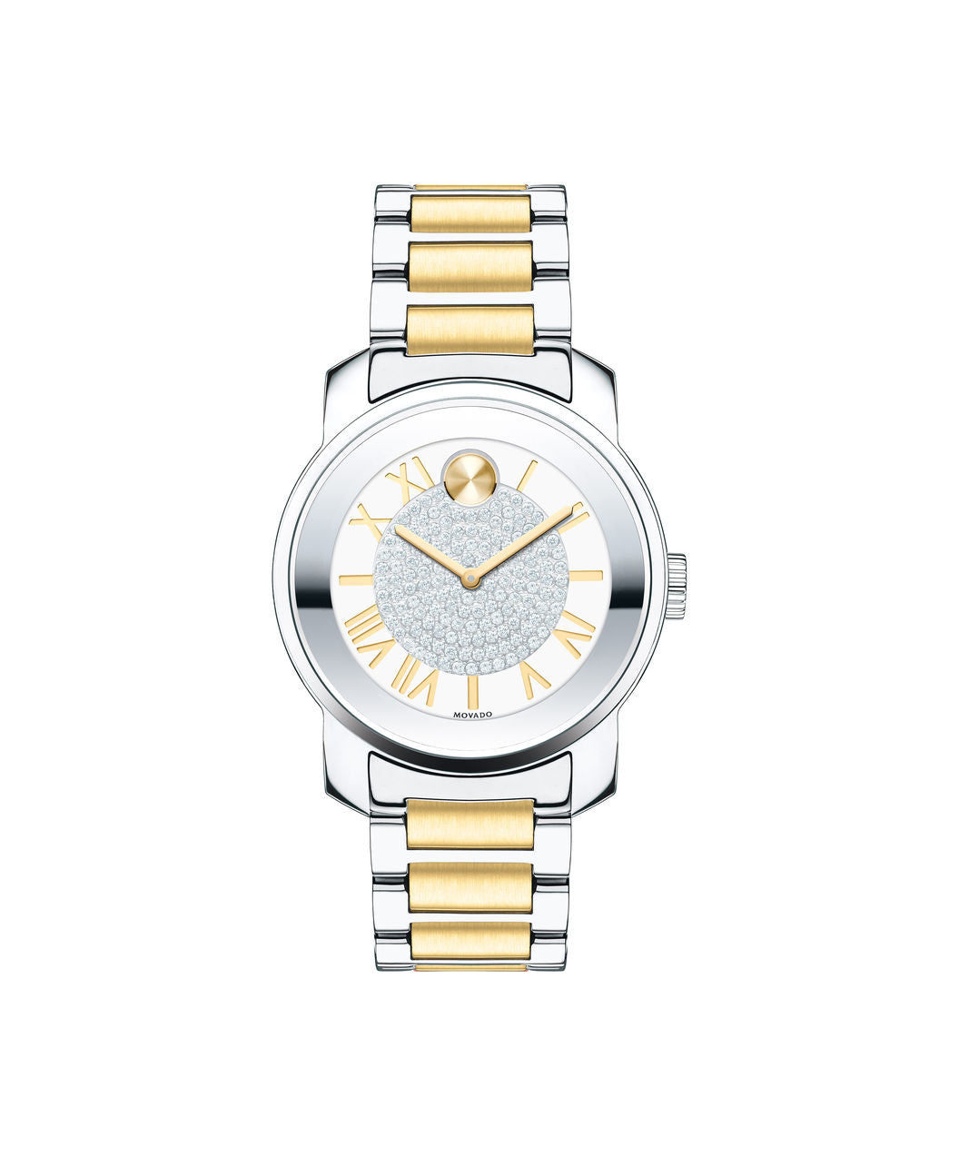 Midsize Movado BOLD Luxe Watch, 32 mm Two-Tone Stainless Steel with Pavé Crystal Center 3600256 - Arnik Jewellers