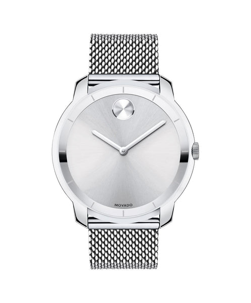 Large Movado BOLD watch, thin 44 mm Stainless Steel with Mesh-Link Bracelet 3600260 - Arnik Jewellers