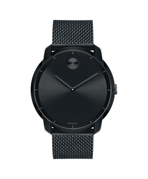 Large Movado BOLD watch, thin 44 mm Black Ion-Plated Stainless Steel with Mesh-Link Bracelet 3600261 - Arnik Jewellers