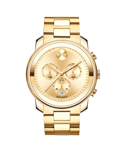 Large Movado BOLD Chronograph Watch, 44 mm Yellow Gold Ion-Plated Stainless Steel 3600278 - Arnik Jewellers