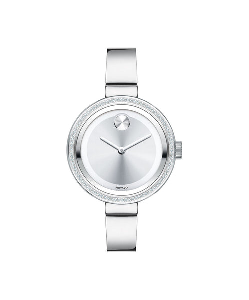 Midsize Movado BOLD Diamond Watch, 34 mm Stainless Steel with 72-Diamond Bezel 3600281 - Arnik Jewellers