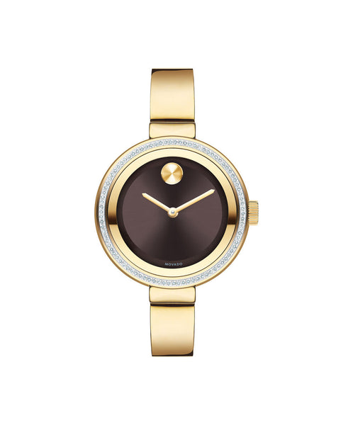 Midsize Movado BOLD Diamond Watch, 34 mm Yellow Gold Ion-Plated Stainless Steel with 72-Diamond Bezel 3600282 - Arnik Jewellers