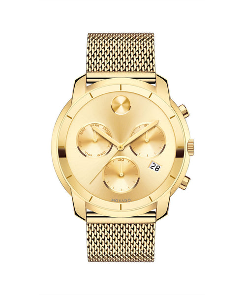 Large Movado BOLD Chronograph watch, Thin 44 mm Yellow Gold Ion Plated Stainless Steel 3600372 - Arnik Jewellers