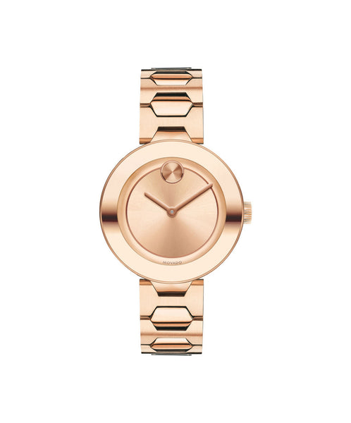 Midsize Movado BOLD Watch, 32 mm Rose Gold Ion Plated Stainless Steel 3600387 - Arnik Jewellers