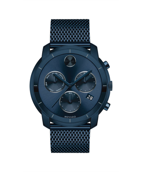 Large Movado BOLD Chronograph, Thin 44 mm Ink Blue Ion-Plated Stainless Steel 3600403 - Arnik Jewellers