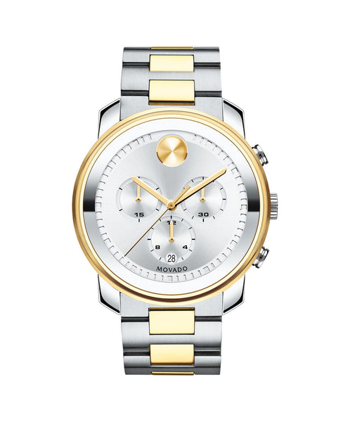 Large Movado BOLD Chronograph Watch, 42.5 mm Stainless Steel & Yellow Gold Ion-Plated 3600432 - Arnik Jewellers
