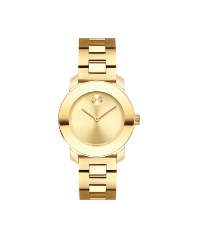 Smaller Mid-Size Movado BOLD Watch, 30 mm Yellow Gold Ion-Plated Stainless Steel 3600434 - Arnik Jewellers