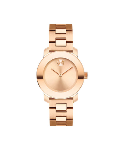 Smaller Mid-Size Movado BOLD Watch, 30 mm Rose Gold Ion-Plated Stainless Steel 3600435 - Arnik Jewellers