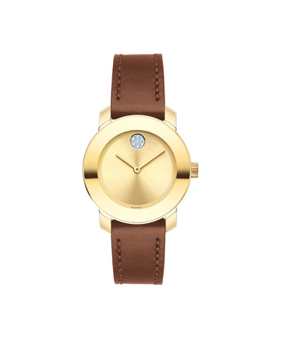 Smaller Mid-Size Movado BOLD Watch, 30 mm Yellow Gold Ion-Plated Stainless Steel 3600437 - Arnik Jewellers
