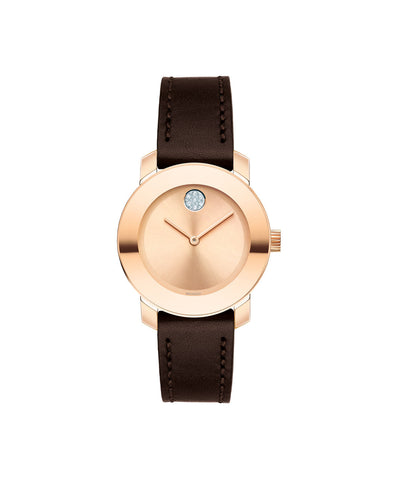 Smaller Mid-Size Movado BOLD Watch, 30 mm Rose Gold Ion-Plated Stainless Steel 3600438 - Arnik Jewellers