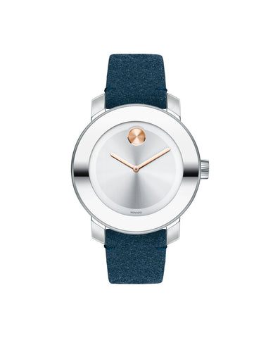 Mid-Size Movado BOLD Watch with Blue Suede Strap, 36 mm Stainless Steel 3600446 - Arnik Jewellers