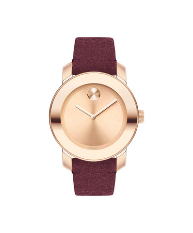 Mid-Size Movado BOLD Watch with Red Suede Strap, 36 mm Rose Gold Ion-Plated Stainless Steel 3600447 - Arnik Jewellers