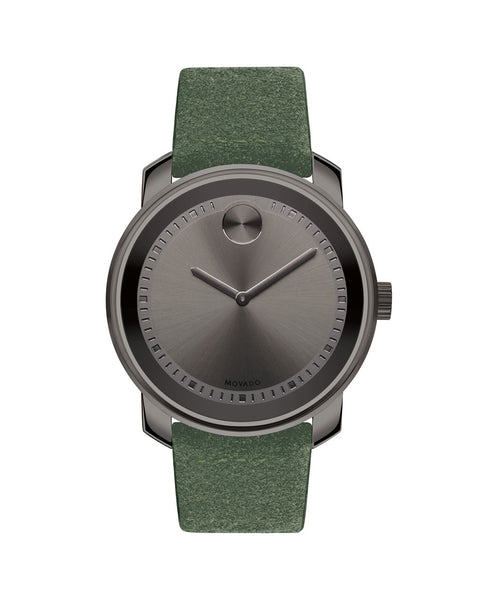 Large Movado BOLD Watch with Green Suede Strap, 42.5 mm Gunmetal Grey Ion-Plated Stainless Steel 3600448 - Arnik Jewellers