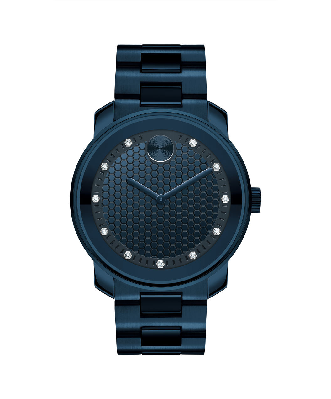 Large Movado BOLD Watch, 42.5 mm Ink Blue Ion-Plated Stainless Steel Diamond Dial 3600450 - Arnik Jewellers