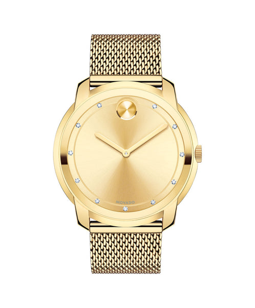 Large Movado BOLD Watch, Thin 44 mm Yellow Gold Ion-Plated Stainless Steel Diamond Dial 3600460 - Arnik Jewellers
