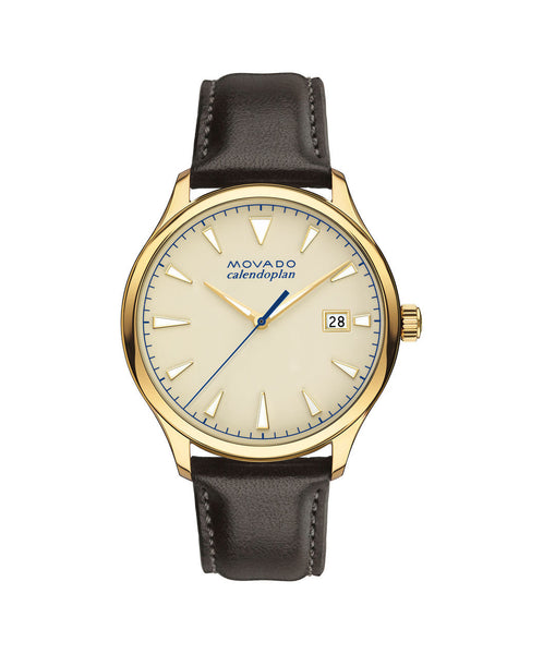 Movado Heritage Series Calendoplan Watch, 40 mm Yellow Gold Ion-Plated Stainless Steel 3650003 - Arnik Jewellers