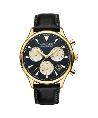 Movado Heritage Series Calendoplan Chronograph Watch, 43 mm Yellow Gold Ion-Plated Stainless Steel 3650006 - Arnik Jewellers