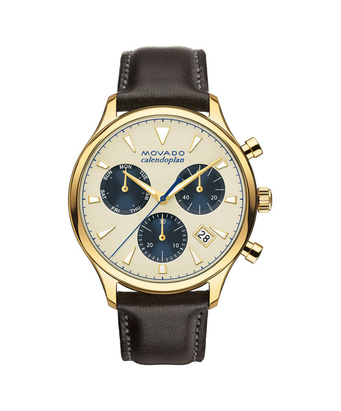 Movado Heritage Series Calendoplan Chronograph Watch, 43 mm Yellow Gold Ion-Plated Stainless Steel 3650007 - Arnik Jewellers