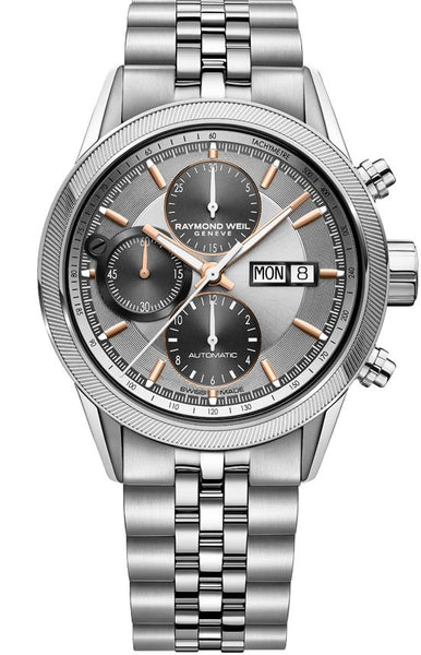 Raymond Weil Freelancer Automatic Chronograph 42mm Stainless Steel Silver Dial 7731-ST2-65655 - Arnik Jewellers