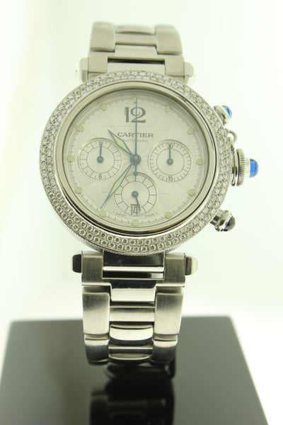 Cartier Pasha Automatic Chronograph Diamond Bezel 38mm 2113 - Arnik Jewellers
