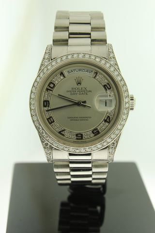 Rolex President Day Date Solid Platinum 18296 Diamond Dial, Bezel & Lugs - Arnik Jewellers