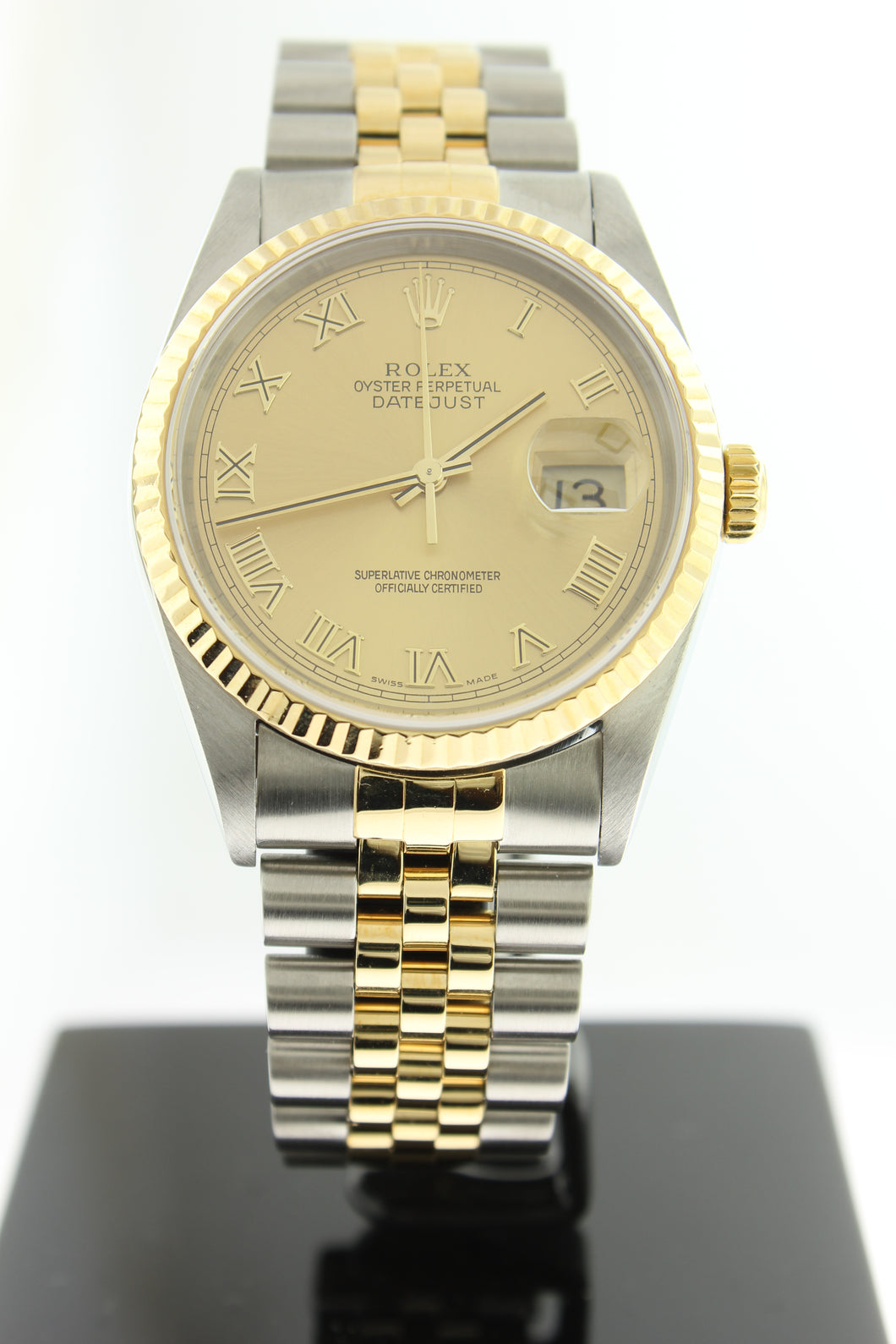 Rolex Datejust 18K Yellow Gold & Stainless Steel Jubilee Champagne Roman Dial 36mm 16233 - Arnik Jewellers