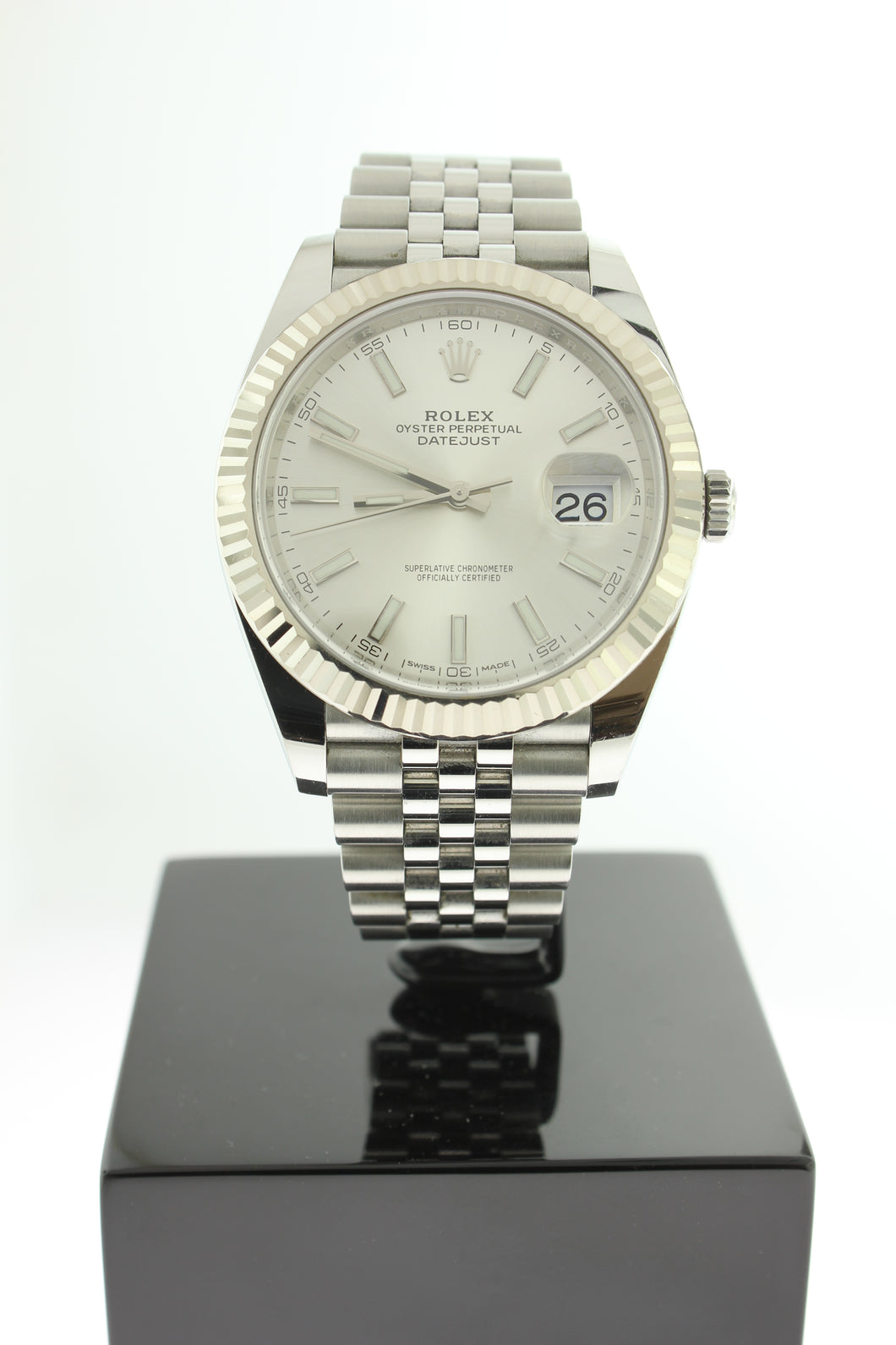 Rolex Datejust 41 Stainless Steel Silver Dial White Gold Fluted Bezel Jubilee 126334 - Arnik Jewellers
