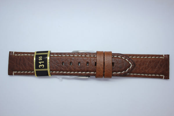 22mm Padded Stitched Italian Leather - Light Brown